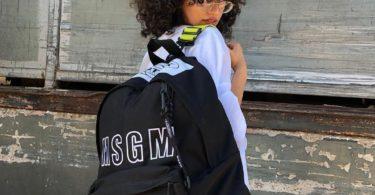 MSGM Black Eastpak Edition Logo Backpack