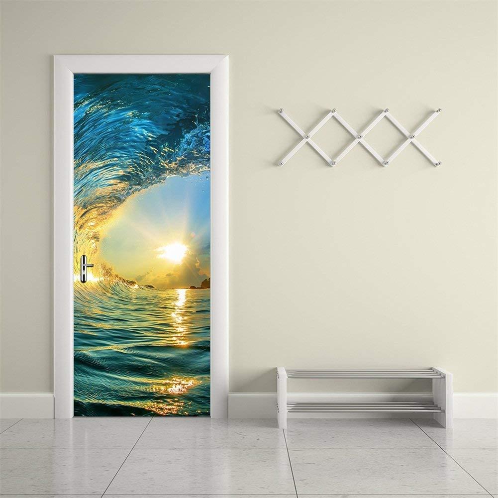 Wave Door Mural Decal