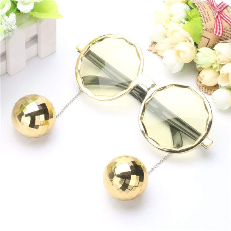 Shiny Hanging Disco Ball Glasses Costume Night Party Creative Sunglasses