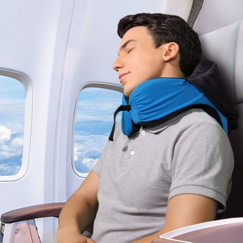 LANGRIA 6-in-1 Memory Foam Neck Support Travel Pillow