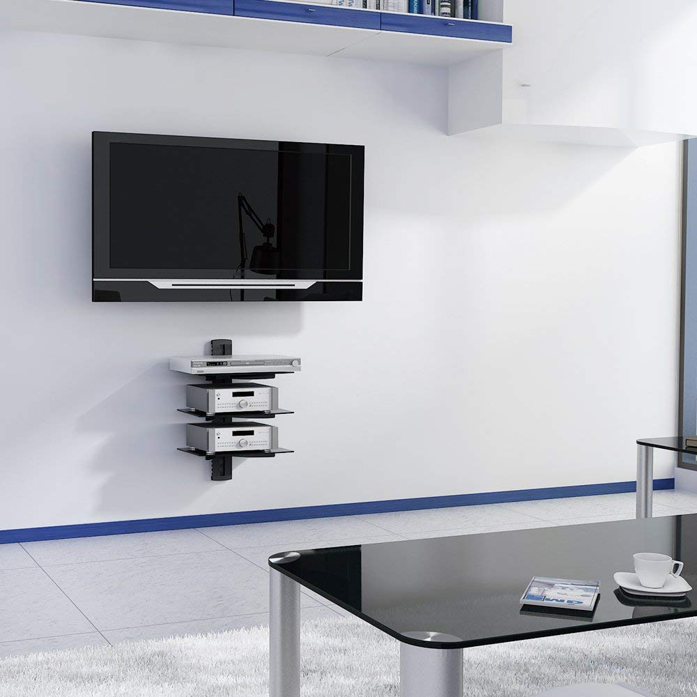 VonHaus 3x Black Floating Shelves with Strengthened Tempered Glass