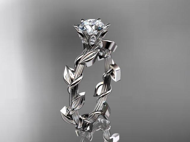 Unique Platinum Diamond Floral Wedding Ring