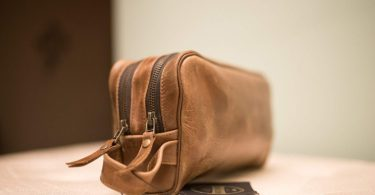 Haircut & Shave Leather Toiletry Bag