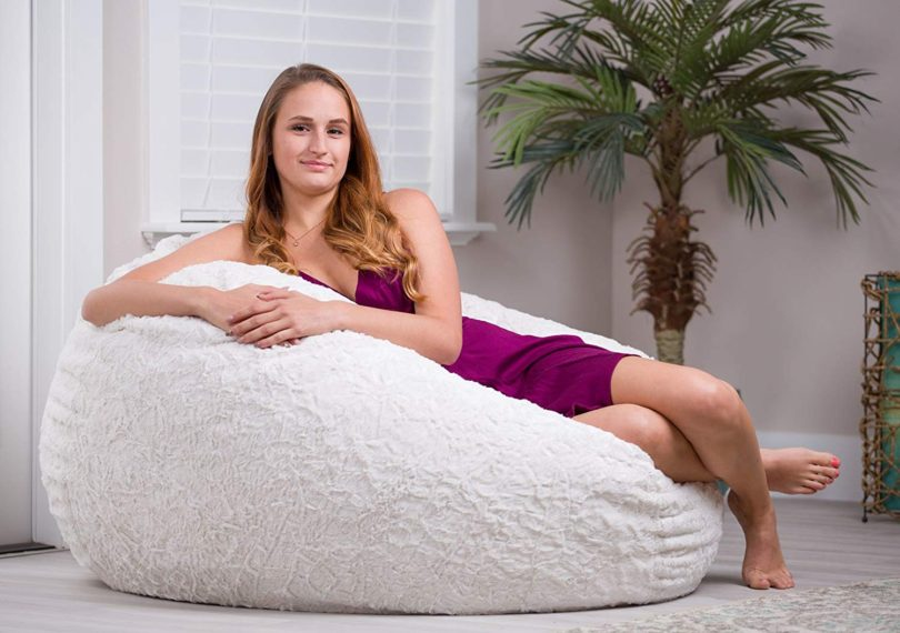 CordaRoy's Convertible Fur Bean Bag Chair, White, Full