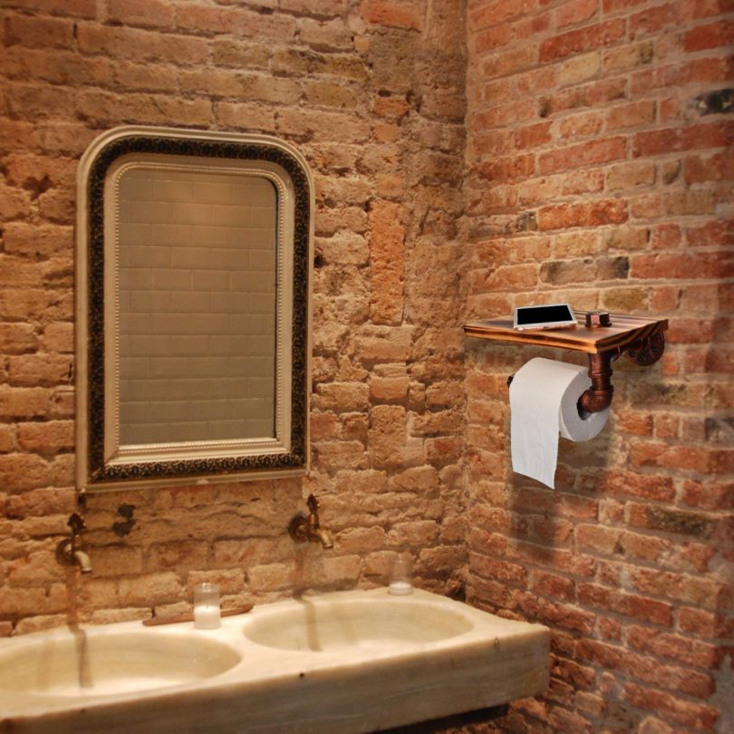 SANSUM Iron Pipe Design Red Bronze Wood Metal Wall Mounted Bathroom Shelf Toilet Paper Roll Holder Storage