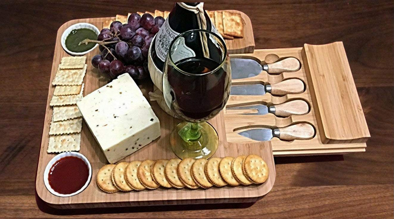 Bamboo Cheese Board w/Cutlery Set