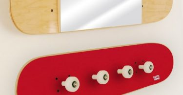 Skateboard Mirror and Coat Rack Set