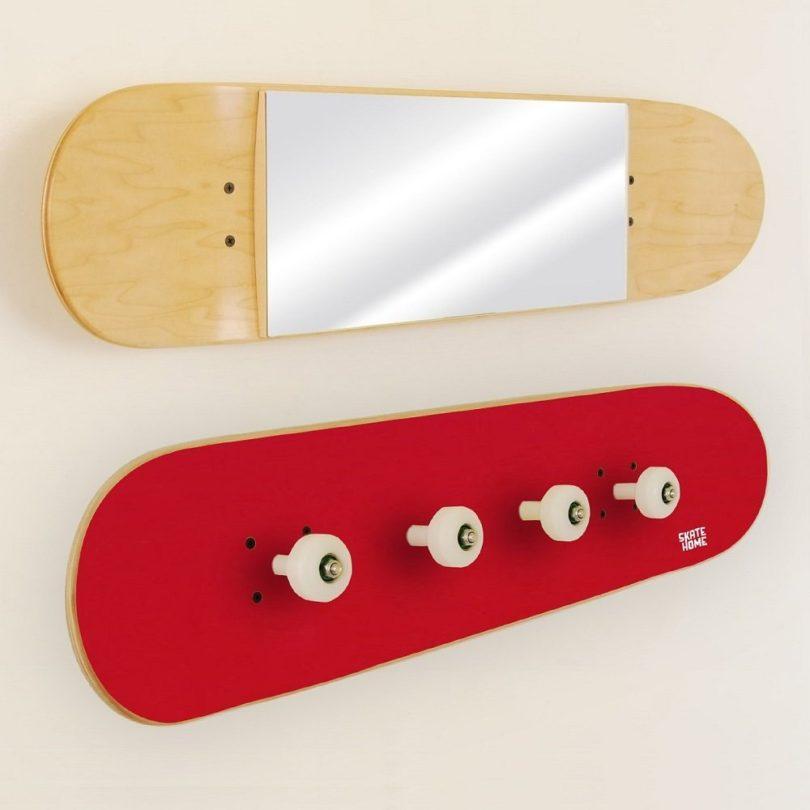 Skateboard Mirror and Coat Rack Set