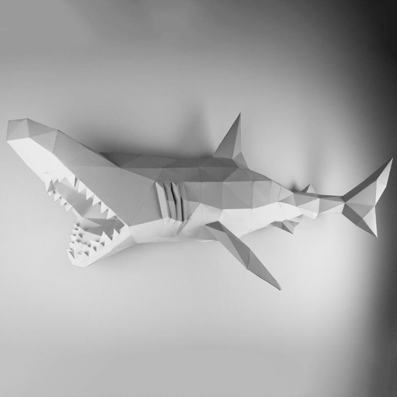 Gray & White XL Shark Papertrophy
