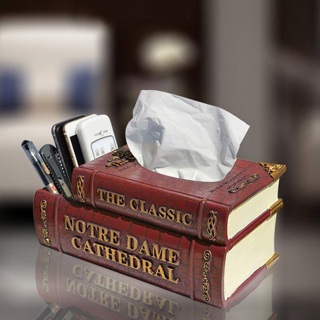Double Layer Resin Classic Book Tissue Box With Remote Box