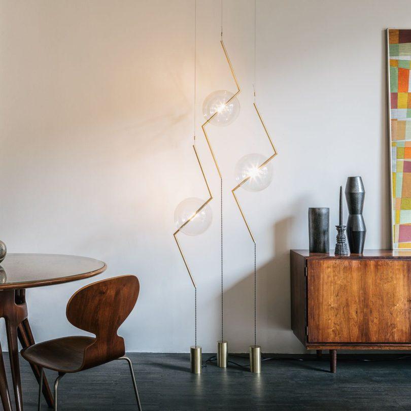 Fulmine 3-Light Floor-to-Ceiling Lamp from Silvio Mondino Studio