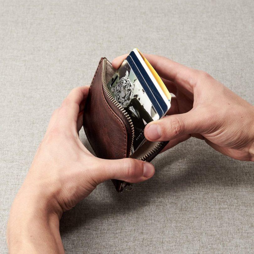 Dark Brown Leather Zip Card Holder