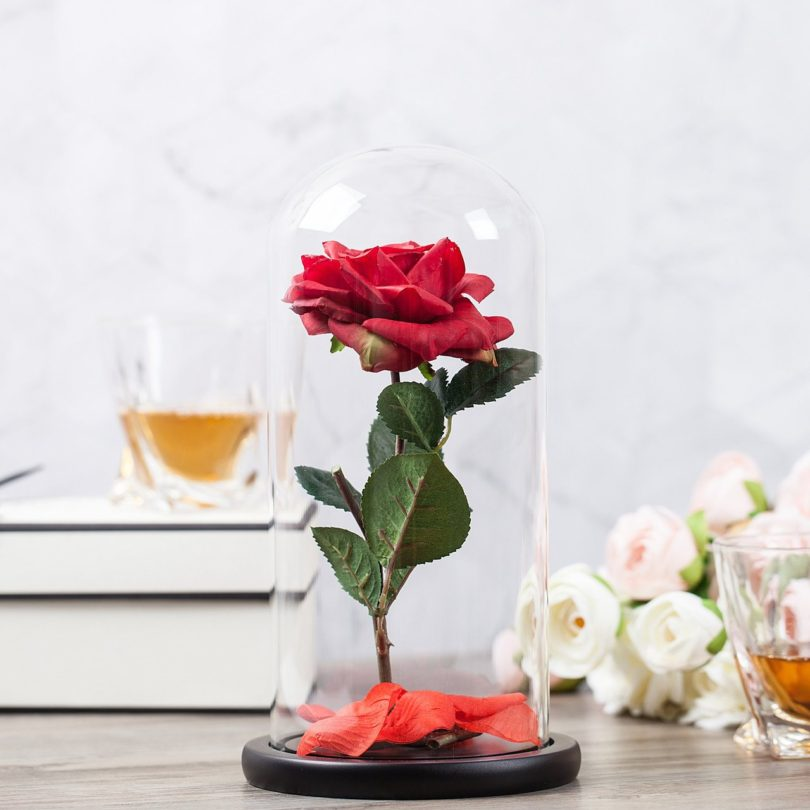 """Beauty and the Beast"" Everlasting Red Rose Flower Led Light"