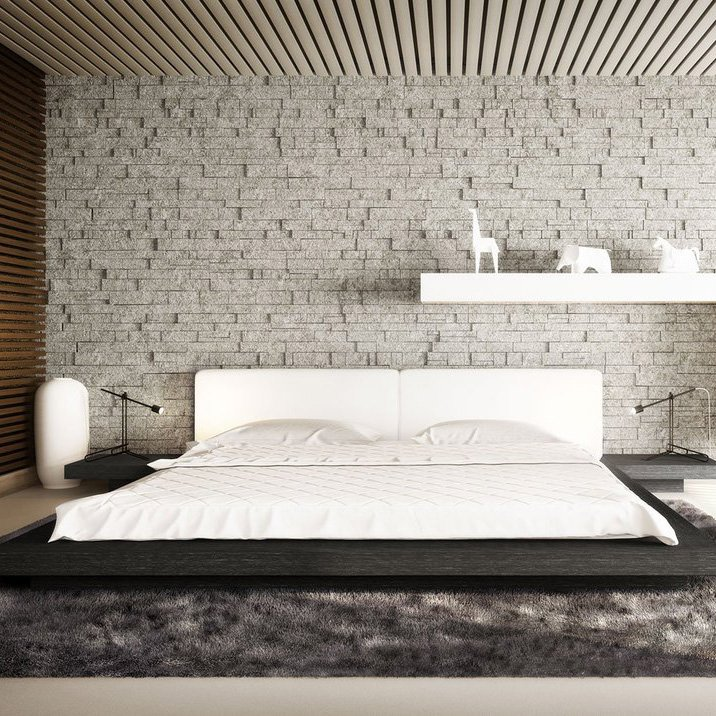 Worth King Bed in White Eco Leather and Gray Oak