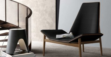 Kent Lounge Chair in Black Linen