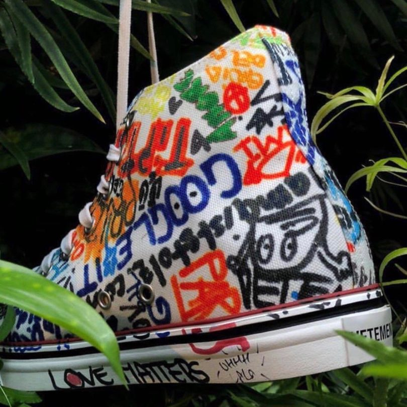 Vetements White Graffiti High-Top Sneakers