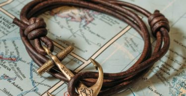 Brass Maritime Anchor Antique Brown Leather Bracelet