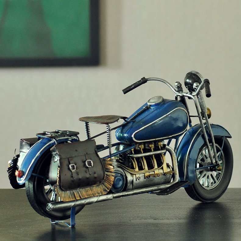 Handmade Antique WWII Blue Motorcycle Model