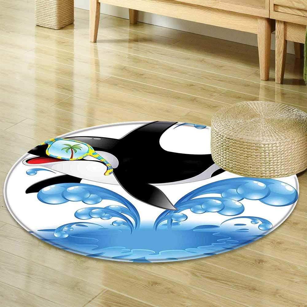 MatSummer Holiday Ocean Cute Jumping Killer Whale with Sunglasses Cartoon Animal Love Theme Non Slip Rug