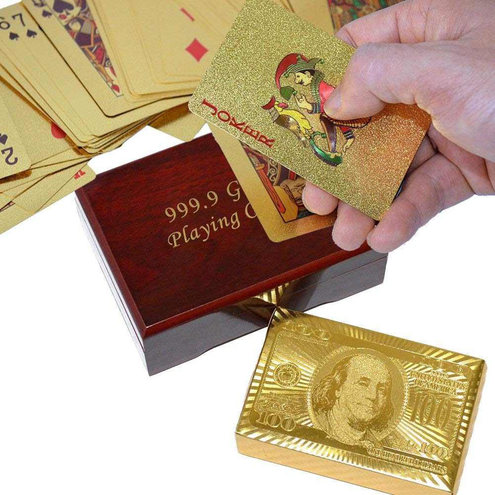 SandiaSummer 24K Gold Foil Playing Cards