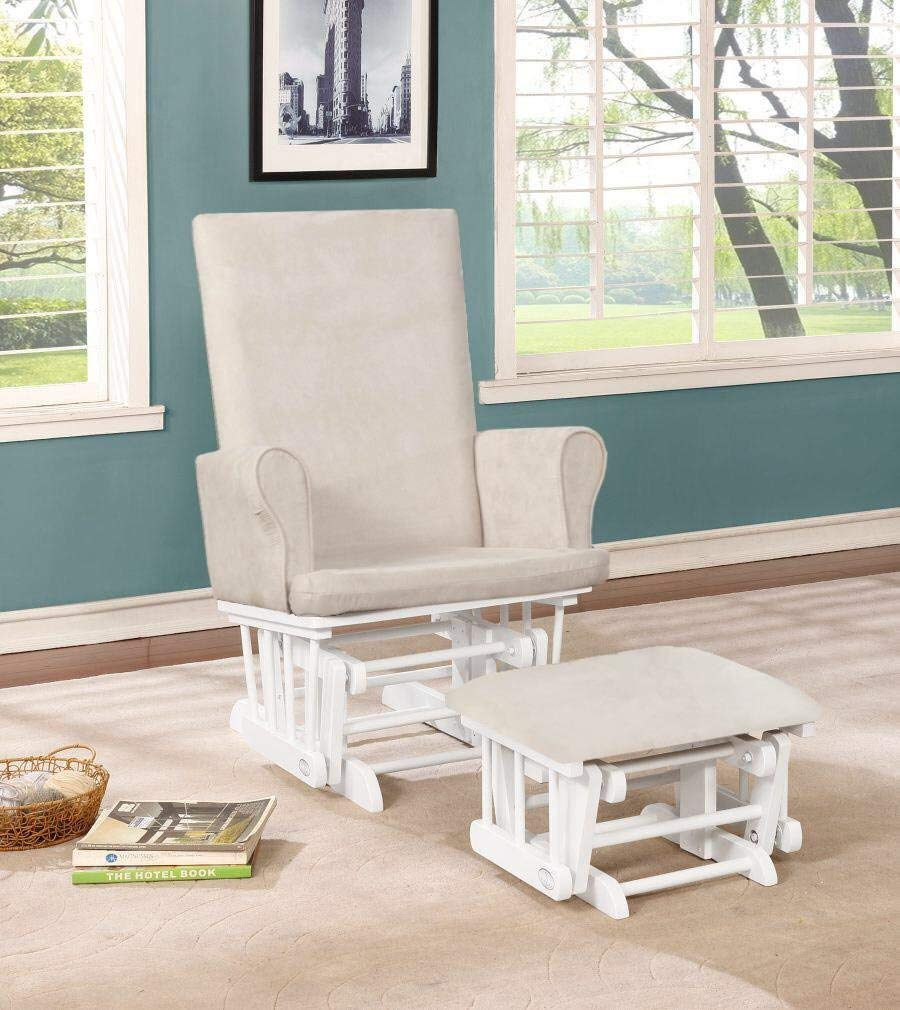 Naomi Home Mateo Wood & Upholstered Glider and Ottoman Set White/Cream