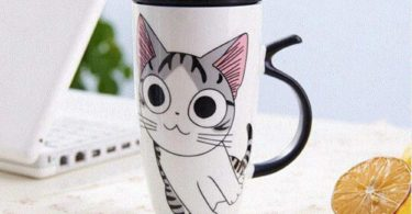 Cute Cat Style Ceramic Mugs with Lid & Spoon