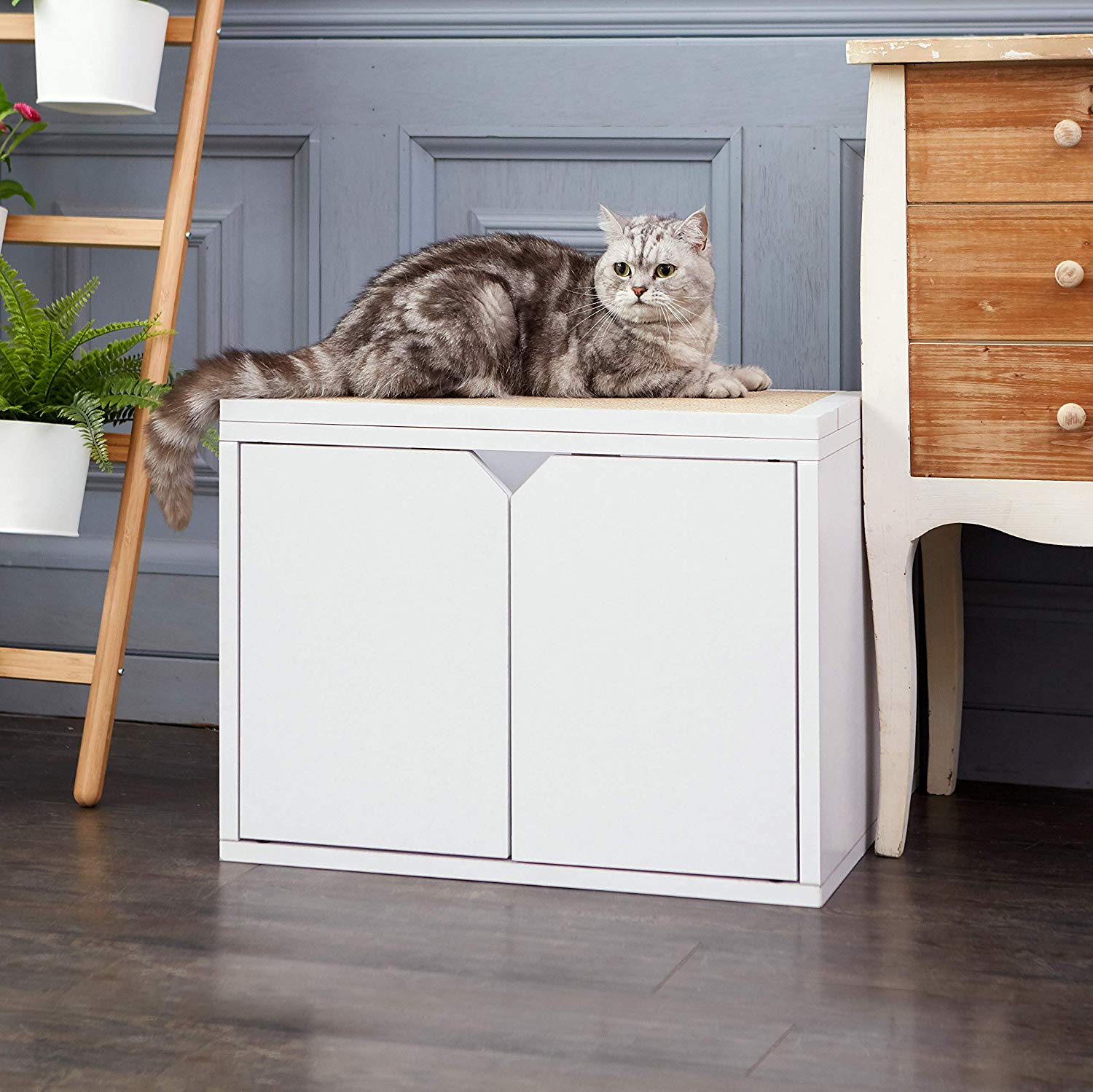 Way Basics Eco Friendly Cat Litter Box Enclosure with Doors