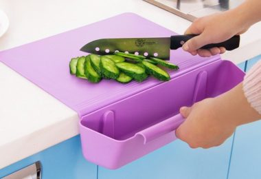 Counter Edge Cutting Board with Scrap Bin