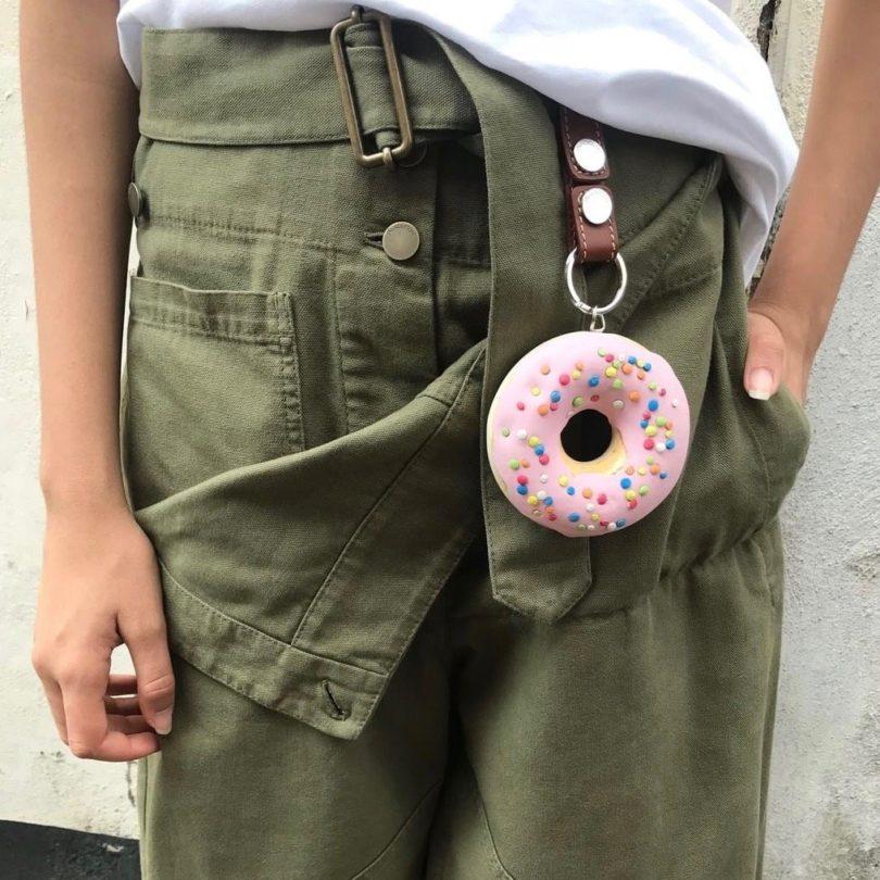 JW Anderson Pink Sprinkles Doughnut Bag Charm