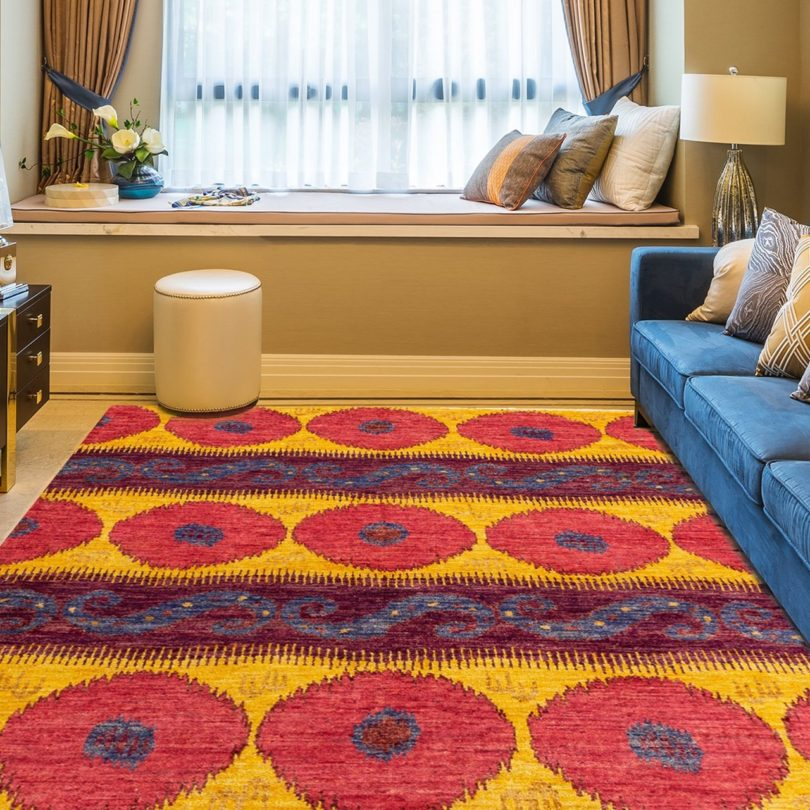 Hand-Knotted Shalimar Gold/Red Wool Rug
