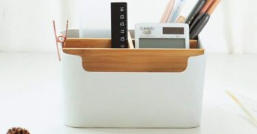Pencil Holder Desk Supplies Multipurpose Bamboo Desk Organizer Office Storage Box