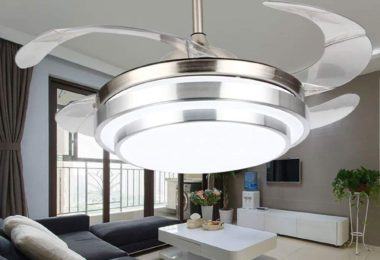 COLORLED Modern Minimalist Brushed Nickle 42-Inch Remote Ceiling Fan