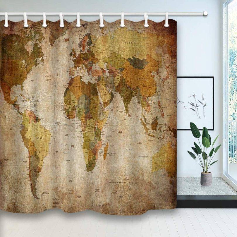 NYMB Vintage World Map Shower Curtain in Retro Color