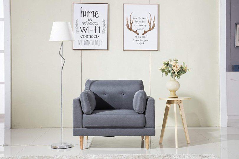 Divano Roma Furniture Mid Century Modern Ultra Plush Linen Fabric Chair