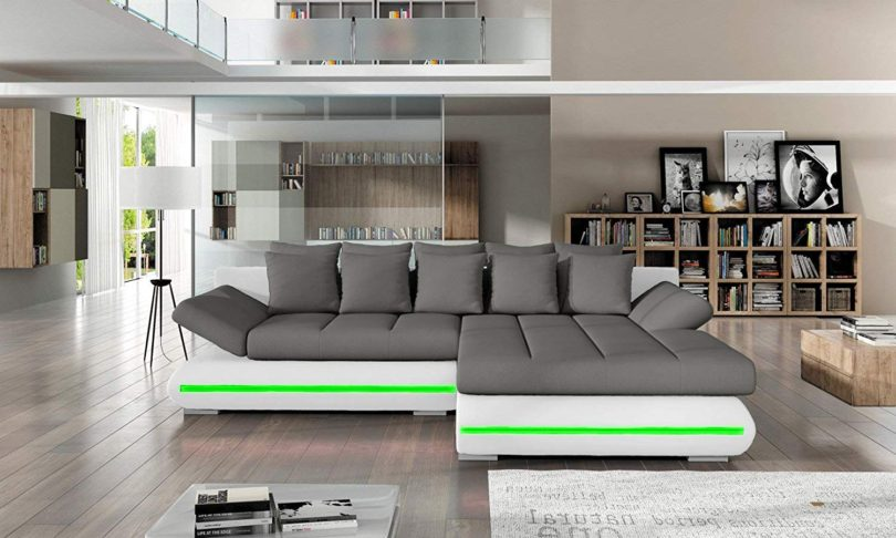 Stupendous Sectional Sleeper Sofa Couch With Storage And Led Lights Pabps2019 Chair Design Images Pabps2019Com
