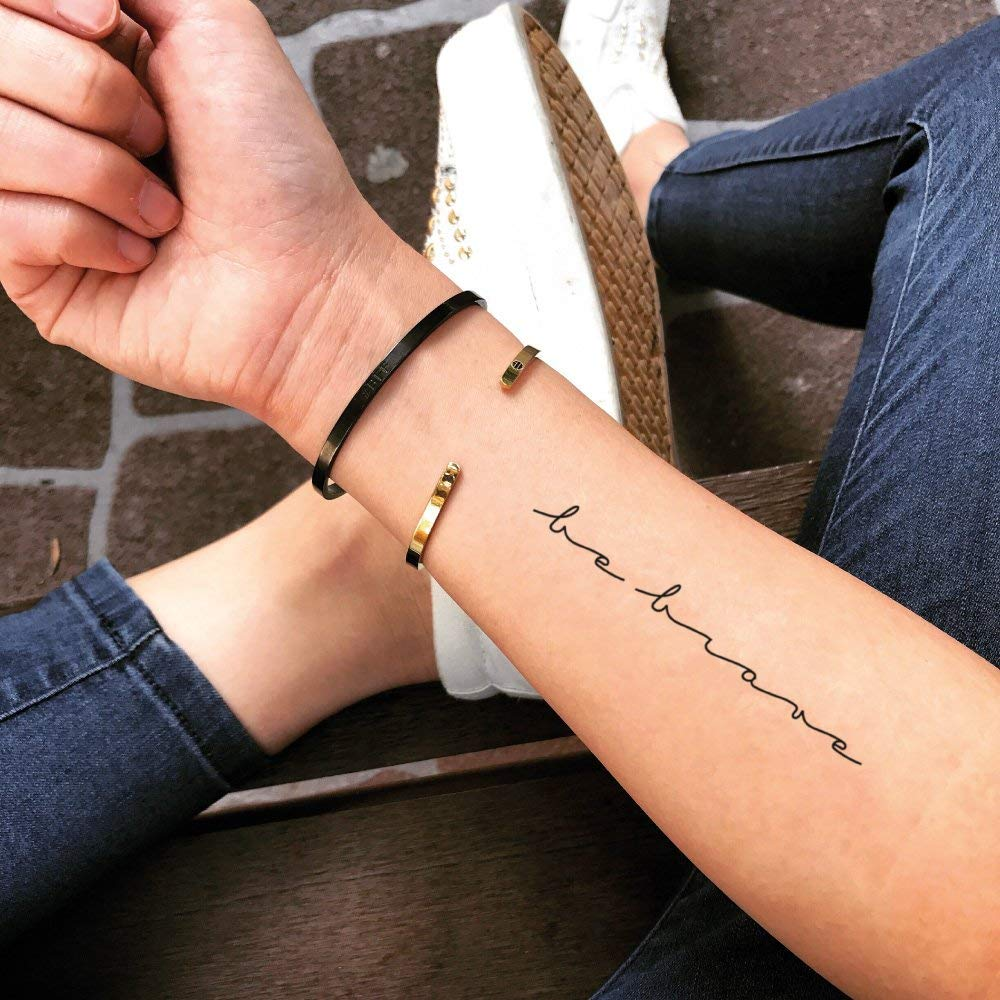 Be Brave Quote Temporary Fake Tattoo Sticker