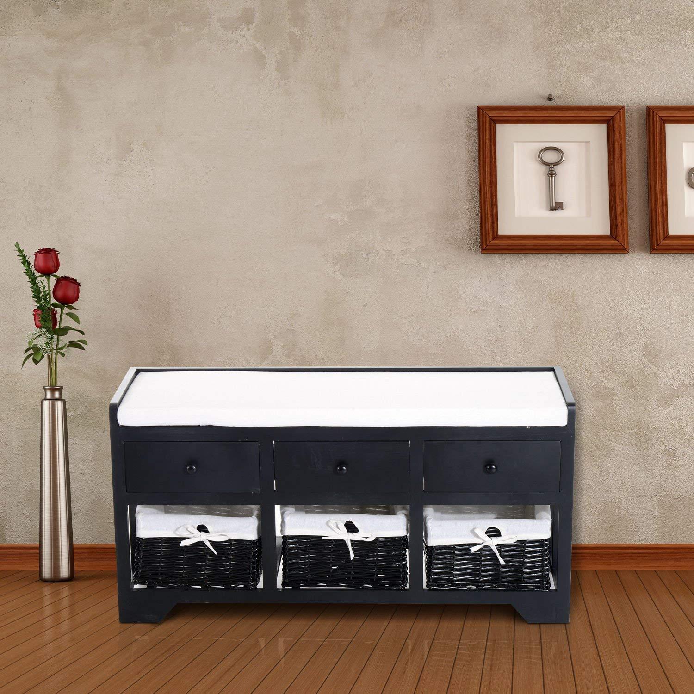 HOMCOM 3-Drawer 3-Basket Padded Storage Bench – Black/Beige