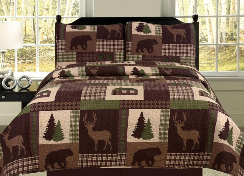 King Quilt 2 Piece Set Rustic Cabin Lodge Deer and Bear Coverlet Bedspread