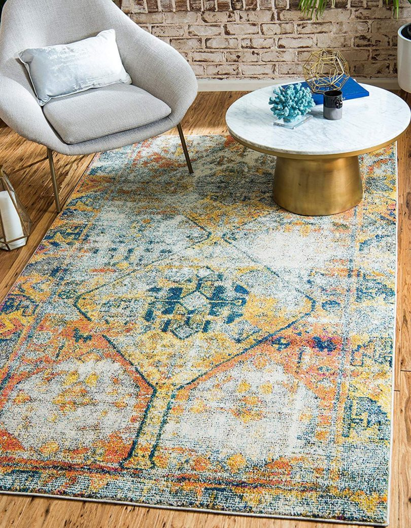 Unique Loom Monterey Collection Tribal Bohemian Vintage Bright Colors Beige Area Rug (8′ x 10′)