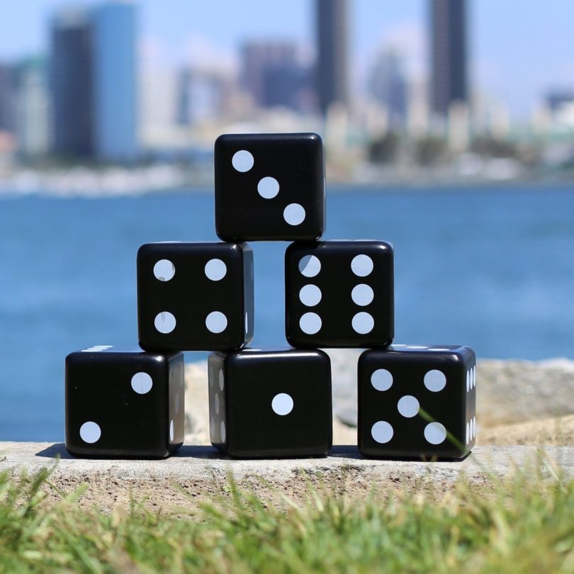 Giant Black & White Wooden Dice