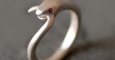 Snake Tail Ring in Sterling Silver with Gemstones