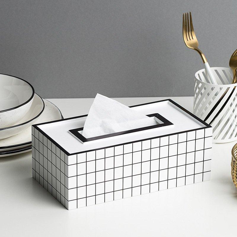 Black and White Grid Tissue Box Cover