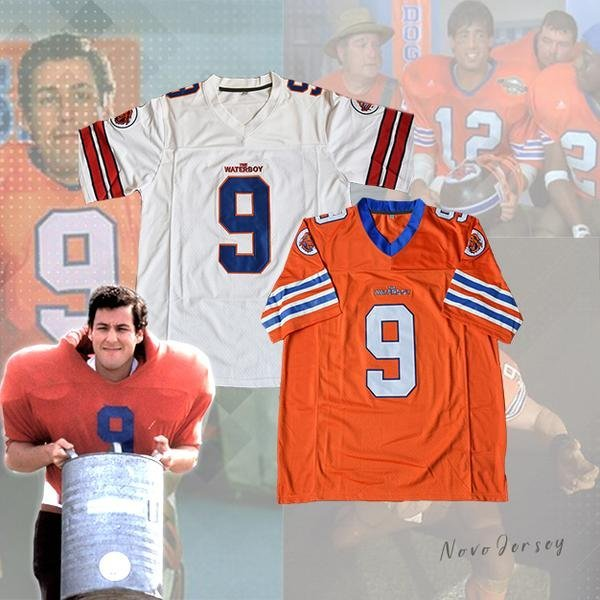 Adam Sandler Bobby Boucher #9 The Waterboy Football Jersey