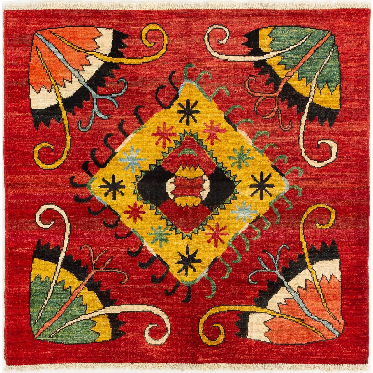 Hand-Knotted Shalimar Red Wool Rug
