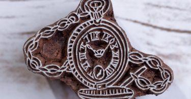 Pocket Watch Pattern Hand Carved Wood Block Print Stamp