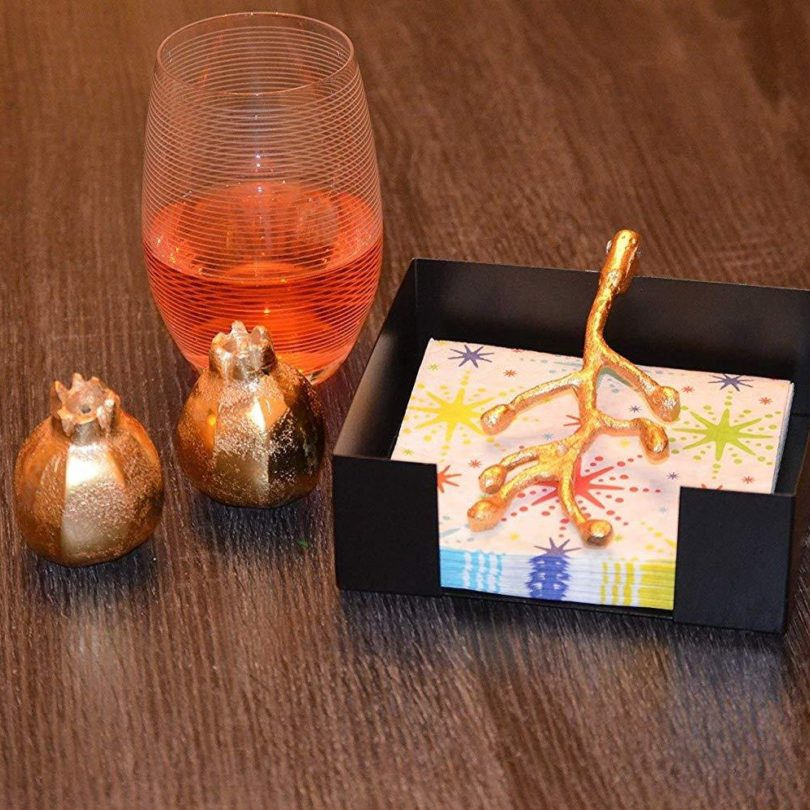 Golden Olive Bud Napkin Holder with Salt & Pepper Shakers