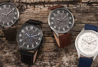 Elevon Lindbergh Leather-Band Day/Date Watch