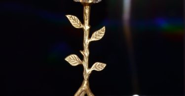 Golden Tree Hurricane Candle Holder