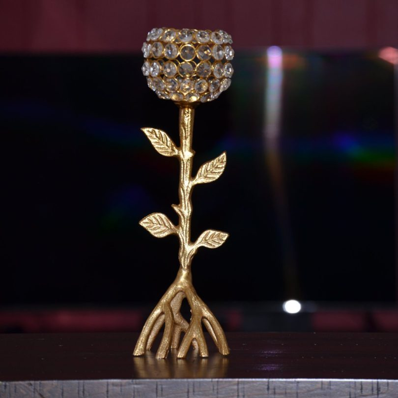 Golden Tree Hurricane Candle Holder