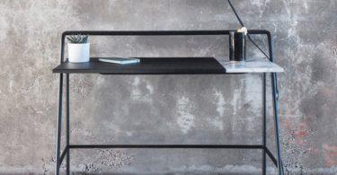 Ossau Desk in Arabescato Marble, Leather, & Metal by Studio AC/AL